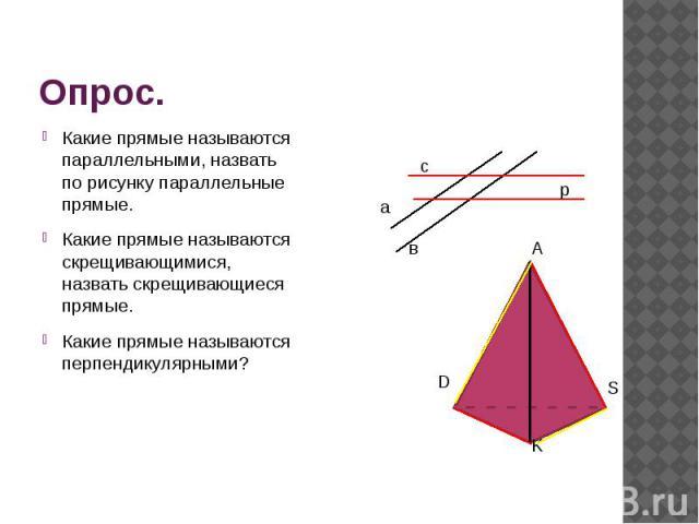Опрос. Какие прямые называются параллельными, назвать по рисунку параллельные прямые. Какие прямые называются скрещивающимися, назвать скрещивающиеся прямые. Какие прямые называются перпендикулярными?