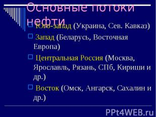 Юго-запад (Украина, Сев. Кавказ) Юго-запад (Украина, Сев. Кавказ) Запад (Беларус
