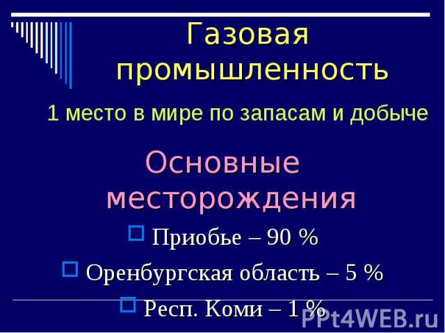 Основные месторождения Основные месторождения Приобье – 90 % Оренбургская область – 5 % Респ. Коми – 1 %