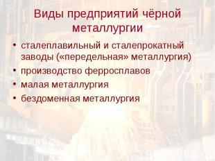 сталеплавильный и сталепрокатный заводы («передельная» металлургия) сталеплавиль
