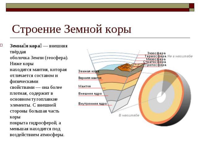 Земна я кора — внешняя твёрдая оболочкаЗемли(геосфера). Ниже коры находитсямантия, которая отличается составом и физическими свойствами— она более плотная, содержит в основном тугоплавкие элементы. С внешней стороны бол…
