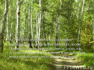на юге тайга сменяется подзонами смешанных и широколиственных лесов. Основные по
