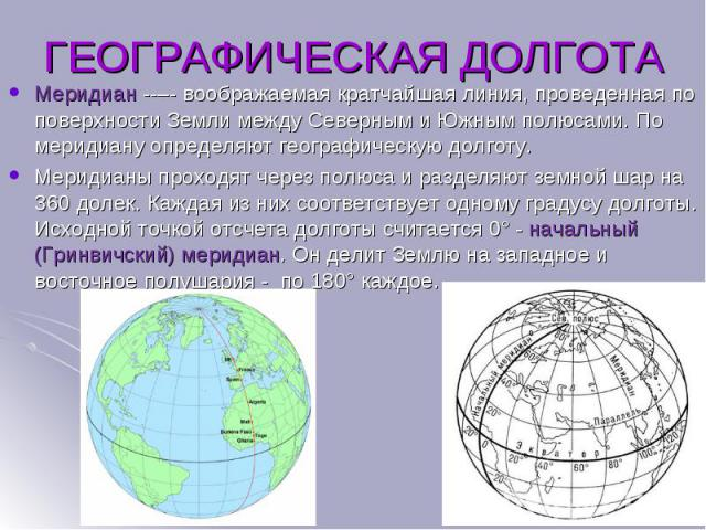 Меридиан – воображаемая кратчайшая линия, проведенная по поверхности Земли между Северным и Южным полюсами. По меридиану определяют географическую долготу. Меридиан – воображаемая кратчайшая линия, проведенная по поверх…