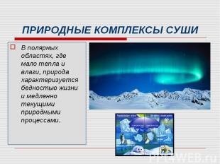 В полярных областях, где мало тепла и влаги, природа характеризуется бедностью ж