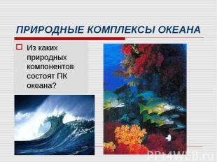 Из каких природных компонентов состоят ПК океана? Из каких природных компонентов