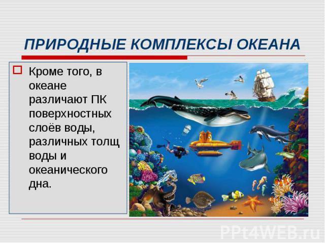 Кроме того, в океане различают ПК поверхностных слоёв воды, различных толщ воды и океанического дна. Кроме того, в океане различают ПК поверхностных слоёв воды, различных толщ воды и океанического дна.