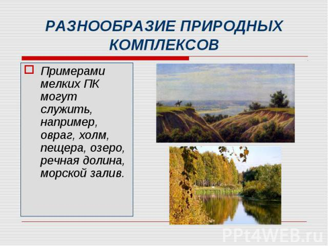 Примерами мелких ПК могут служить, например, овраг, холм, пещера, озеро, речная долина, морской залив. Примерами мелких ПК могут служить, например, овраг, холм, пещера, озеро, речная долина, морской залив.