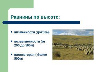 низменности (до200м) возвышенности (от 200 до 500м) плоскогорья ( более 500м)