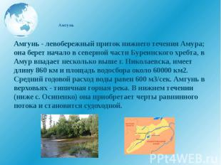Амгунь Амгунь - левобережный приток нижнего течения Амура; она берет начало в се