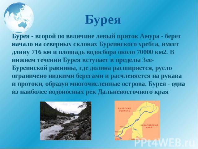 Бурея Бурея - второй по величине левый приток Амура - берет начало на северных склонах Буреинского хребта, имеет длину 716 км и площадь водосбора около 70000 км2. В нижнем течении Бурея вступает в пределы Зее-Буреинской равнины, где долина расширяет…