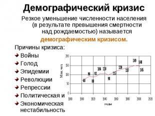 Резкое уменьшение численности населения (в результате превышения смертности над