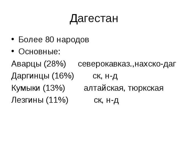Более 80 народов Более 80 народов Основные: Аварцы (28%) северокавказ.,нахско-даг Даргинцы (16%) ск, н-д Кумыки (13%) алтайская, тюркская Лезгины (11%) ск, н-д