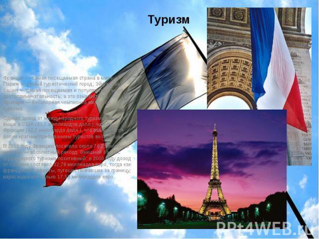 Туризм Франция— самая посещаемая страна в мире; Париж— самый туристический город; Эйфелева башня— самая посещаемая и популярная в мире достопримечательность, а это означает, что Франция— бесспорная чемпионка мирового туризма.…