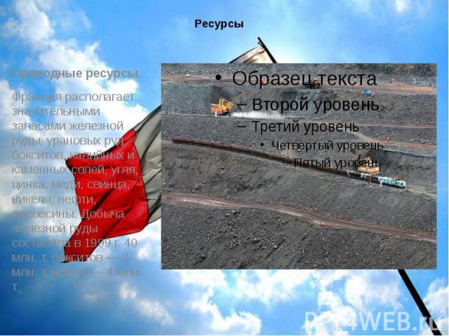 Ресурсы Природные ресурсы. Франция располагает значительными запасами железной руды, урановых руд, бокситов, калийных и каменных солей, угля, цинка, меди, свинца, никеля, нефти, древесины. Добыча железной руды составила в 1999 г. 40 млн. т, бокситов…