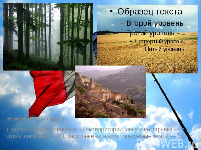 Земельные ресурсы. Земельные ресурсы. Пахотные земли занимают 33 % территории, леса и кустарники — 27, луга и пастбища — 23, застроенные и неиспользуемые земли — 17%.