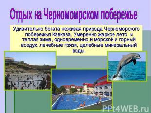 Удивительно богата неживая природа Черноморского побережья Кавказа. Умеренно жар