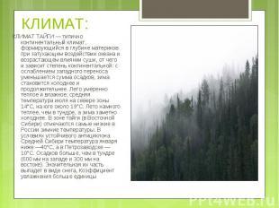 КЛИМАТ ТАЙГИ — типично континентальный климат, формирующийся в глубине материков