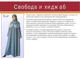 Свобода и хиджаб Коран гласит «Мужчины являются попечителями женщин, потому что