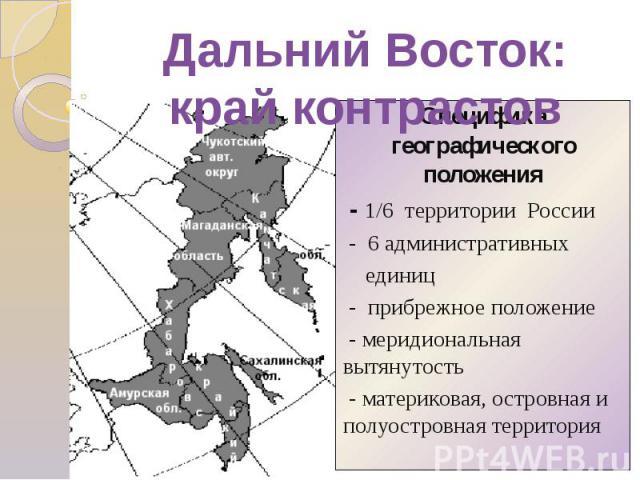 Специфика географического положения - 1/6 территории России - 6 административных единиц - прибрежное положение - меридиональная вытянутость - материковая, островная и полуостровная территория