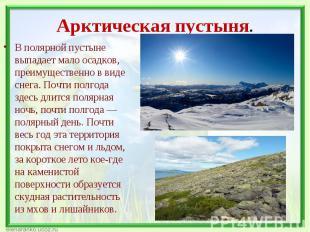 В полярной пустыне выпадает мало осадков, преимущественно в виде снега. Почти по