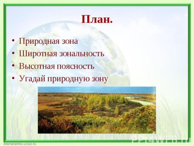 Природная зона Природная зона Широтная зональность Высотная поясность Угадай природную зону