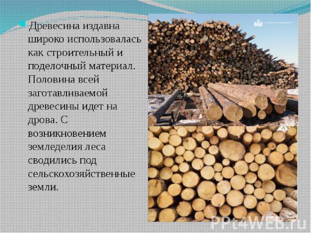 Древесина издавна широко использовалась как строительный и поделочный материал. Половина всей заготавливаемой древесины идет на дрова. С возникновением земледелия леса сводились под сельскохозяйственные земли. Древесина издавна широко использовалась…