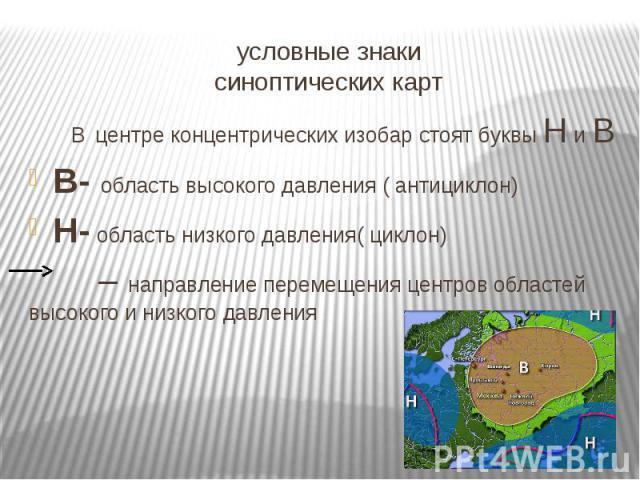 условные знаки синоптических карт В центре концентрических изобар стоят буквы Н и В В- область высокого давления ( антициклон) Н- область низкого давления( циклон) – направление перемещения центров областей высокого и низкого давления