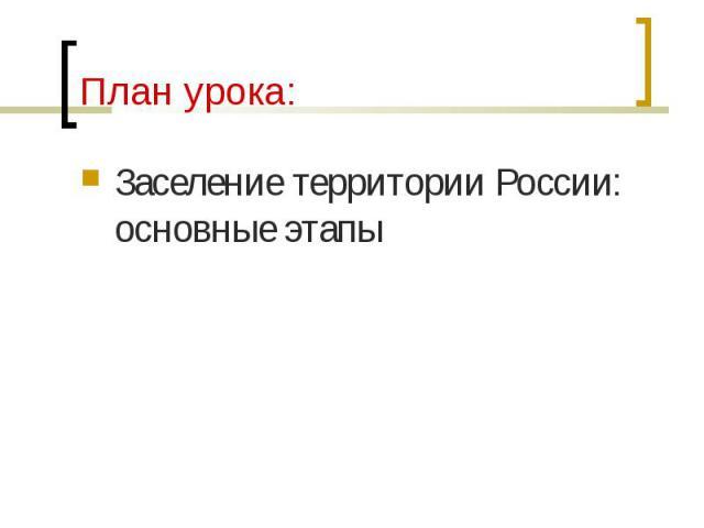Заселение территории России: основные этапы Заселение территории России: основные этапы