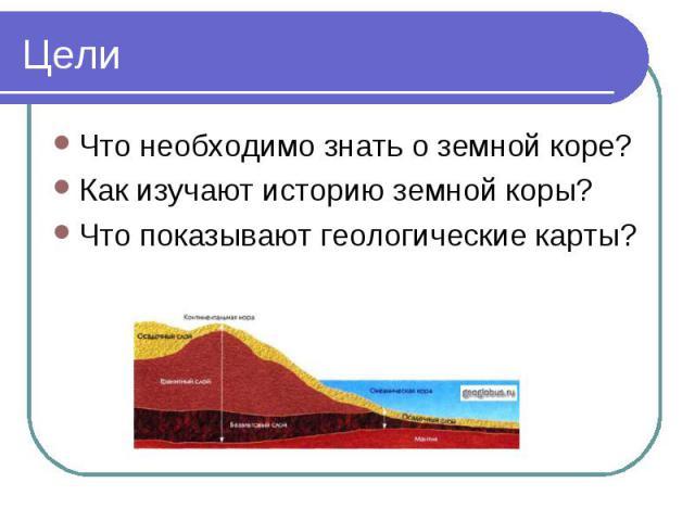 Что необходимо знать о земной коре? Что необходимо знать о земной коре? Как изучают историю земной коры? Что показывают геологические карты?