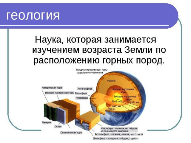Наука, которая занимается изучением возраста Земли по расположению горных пород. Наука, которая занимается изучением возраста Земли по расположению горных пород.