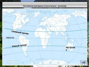 Положение материка относительно тропиков