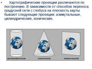 Картографические проекции различаются по построени