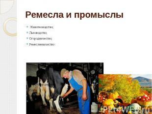 Ремесла и промыслы Животноводство; Льноводство; Огородничество; Ремесленничество
