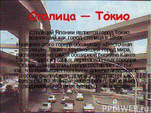 Столицей Японии является город Токио, возникший как город-столица в 1869г. Столи