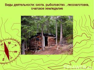 Виды деятельности: охота. рыболовство , лесозаготовка, очаговое земледелие