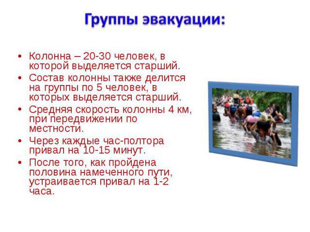 Колонна – 20-30 человек, в которой выделяется старший. Колонна – 20-30 человек, в которой выделяется старший. Состав колонны также делится на группы по 5 человек, в которых выделяется старший. Средняя скорость колонны 4 км, при передвижении по местн…
