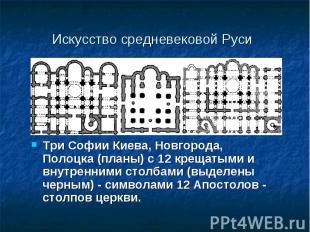 Три Софии Киева, Новгорода, Полоцка (планы) с 12 крещатыми и внутренними столбам