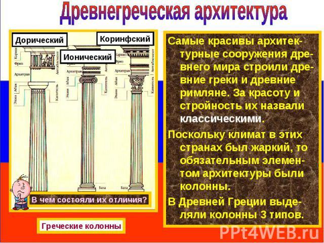 Самые красивы архитек-турные сооружения дре-внего мира строили дре-вние греки и древние римляне. За красоту и стройность их назвали классическими. Самые красивы архитек-турные сооружения дре-внего мира строили дре-вние греки и древние римляне. За кр…