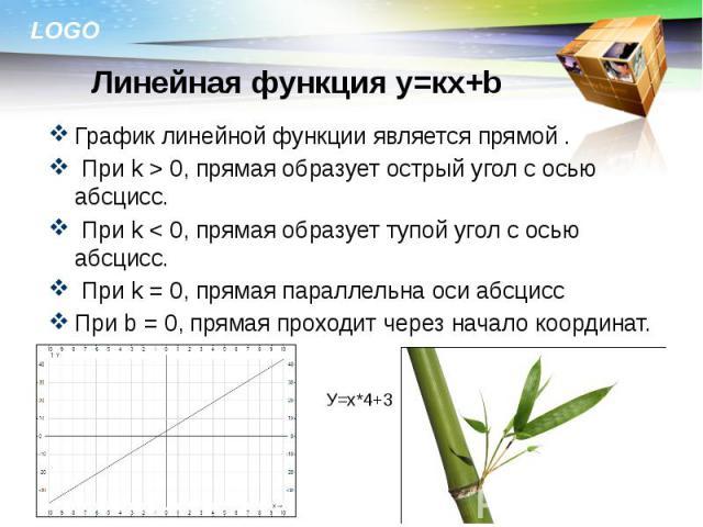 График линейной функции является прямой . График линейной функции является прямой . При k > 0, прямая образует острый угол с осью абсцисс. При k < 0, прямая образует тупой угол с осью абсцисс. При k = 0, прямая параллельна оси абсцисс При b = …