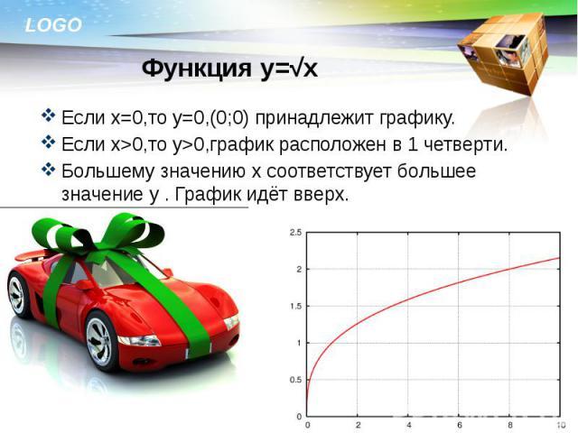 Если х=0,то у=0,(0;0) принадлежит графику. Если х=0,то у=0,(0;0) принадлежит графику. Если х>0,то у>0,график расположен в 1 четверти. Большему значению х соответствует большее значение у . График идёт вверх.