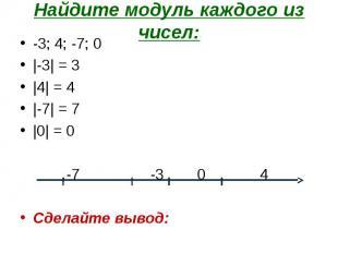 -3; 4; -7; 0 -3; 4; -7; 0 |-3| = 3 |4| = 4 |-7| = 7 |0| = 0 -7 -3 0 4 Сделайте в