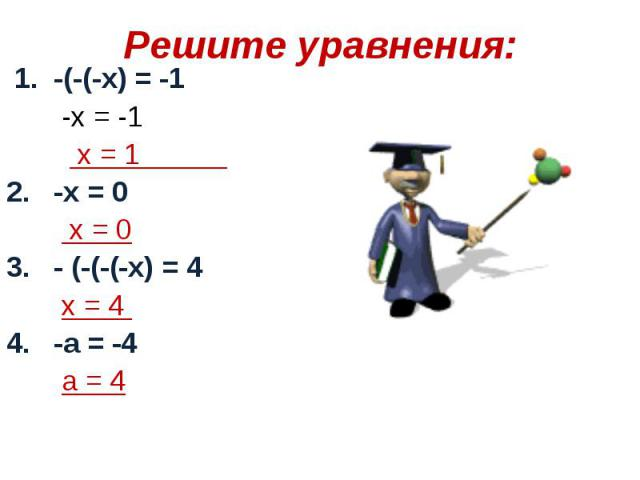1. -(-(-х) = -1 1. -(-(-х) = -1 -х = -1 х = 1 2. -х = 0 х = 0 3. - (-(-(-х) = 4 х = 4 4. -а = -4 а = 4