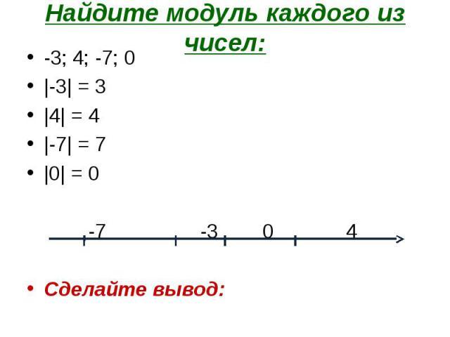 -3; 4; -7; 0 -3; 4; -7; 0 |-3| = 3 |4| = 4 |-7| = 7 |0| = 0 -7 -3 0 4 Сделайте вывод: