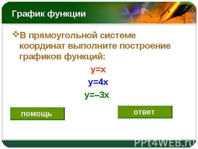 В прямоугольной системе координат выполните построение графиков функций: В прямоугольной системе координат выполните построение графиков функций: y=x y=4x y=–3x