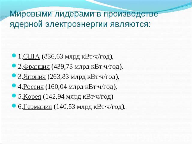 1.США (836,63 млрд кВт·ч/год), 2.Франция (439,73 млрд кВт·ч/год), 3.Япония (263,83 млрд кВт·ч/год), 4.Россия (160,04 млрд кВт·ч/год), 5.Корея (142,94 млрд кВт·ч/год) 6.Германия (140,53 млрд кВт·ч/год).