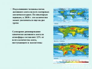 Под влиянием человека поток активного азота на всех материках увеличился вдвое.