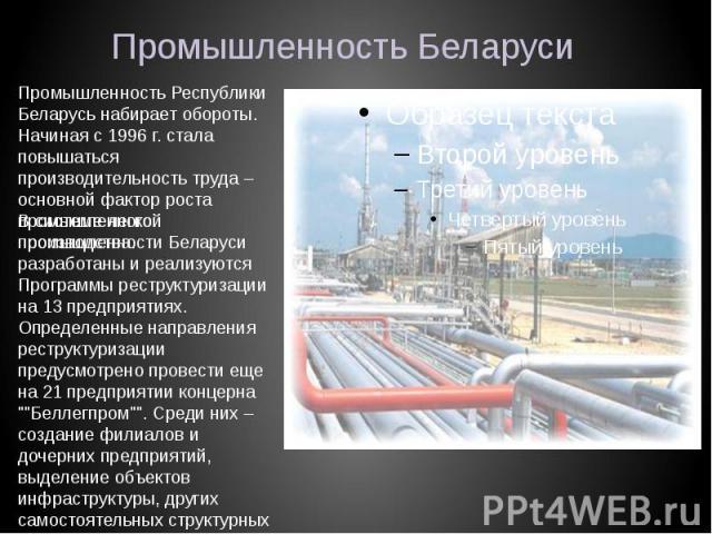 Промышленность Беларуси