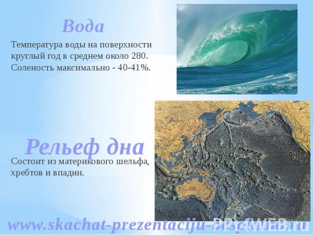 Вода Вода Температура воды на поверхности круглый год в среднем около 280. Соленость максимально - 40-41%. Состоит из материкового шельфа, хребтов и впадин.
