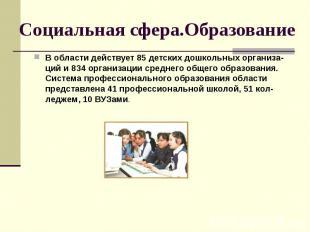 Социальная сфера.Образование В области действует 85 детских дошкольных организа-