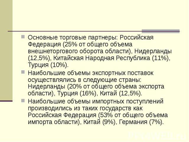 Основные торговые партнеры: Российская Федерация (25% от общего объема внешнеторгового оборота области), Нидерланды (12,5%), Китайская Народная Республика (11%), Турция (10%). Основные торговые партнеры: Российская Федерация (25% от общего объема вн…
